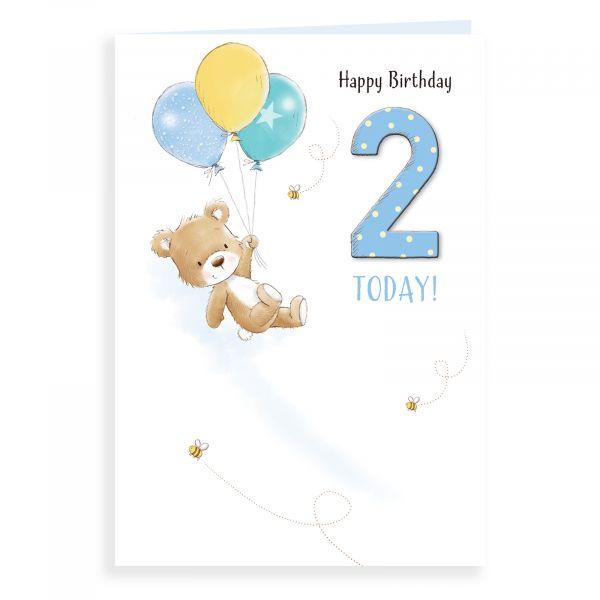 Birthday Card Age 2 M, Bear And Balloons