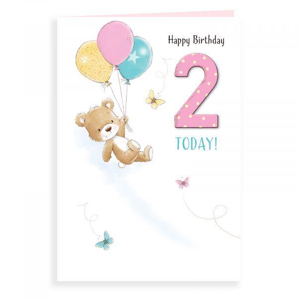Birthday Card Age 2 F, Bear And Balloons
