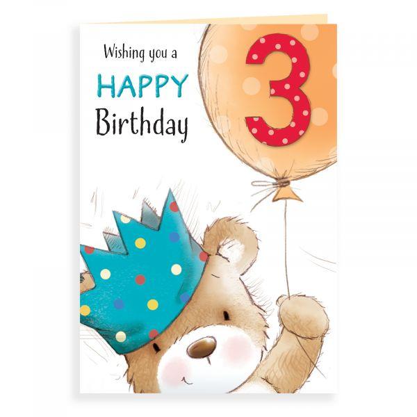 Birthday Card Age 3 , Bear With Big Balloon