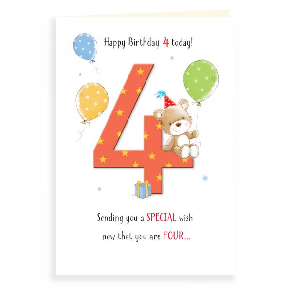 Birthday Card Age 4 , Bear On Four