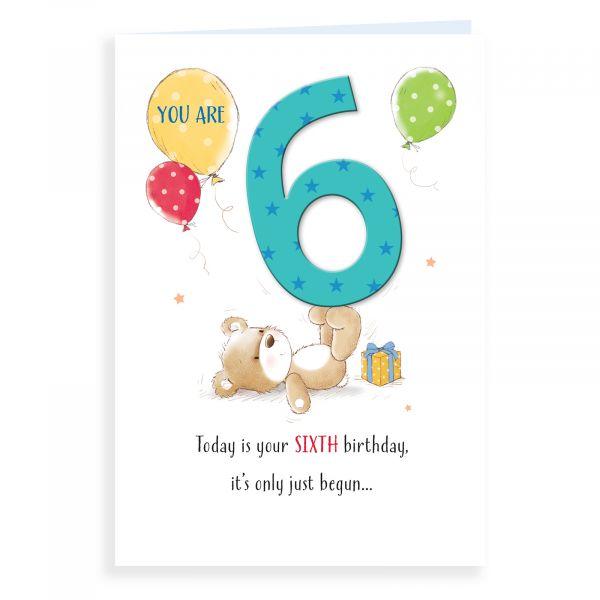 Birthday Card Age 6, Bear Balancing Number