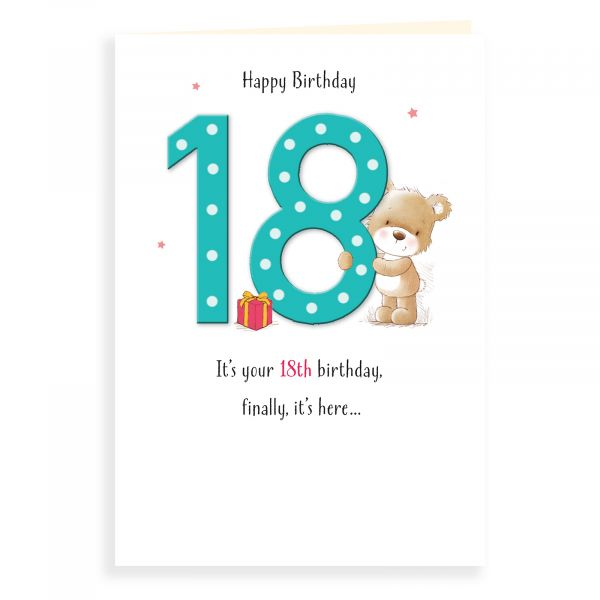 Birthday Card Age 18, Bear And Gift