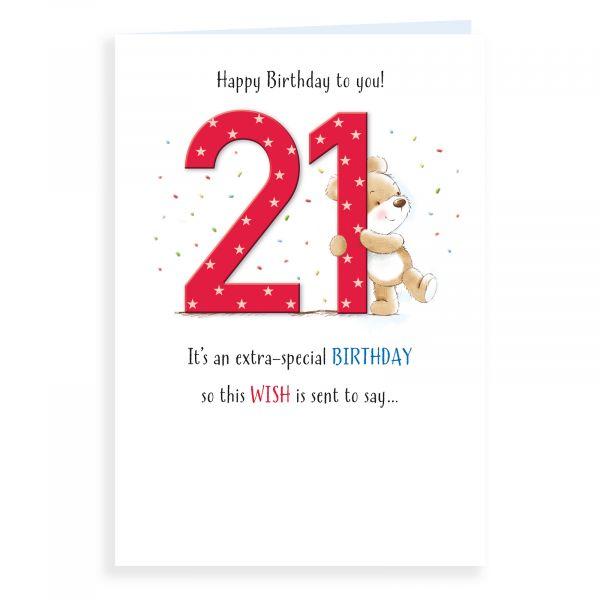 Birthday Card Age 21, Bear And Confetti