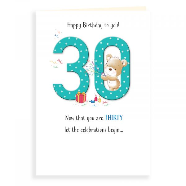 Birthday Card Age 30, Bear And Popper