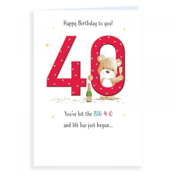Birthday Card Age 40, Bear And Champagne