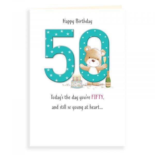 Birthday Card Age 50, Bear And Cake
