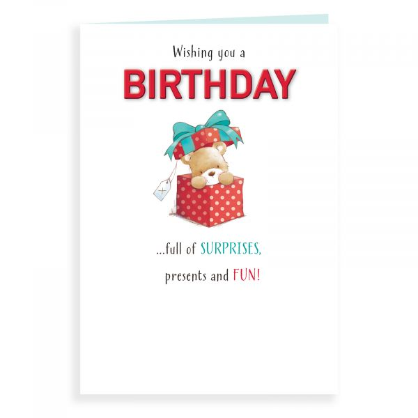 Birthday Card Open, Bear In A Giftbox