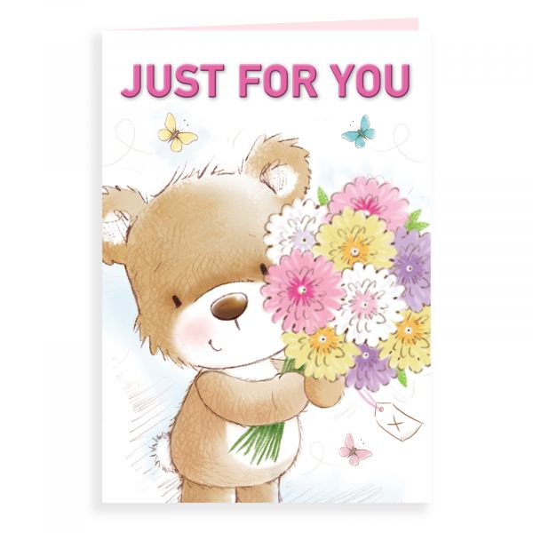Birthday Card Open, Bear Just For You Flowers