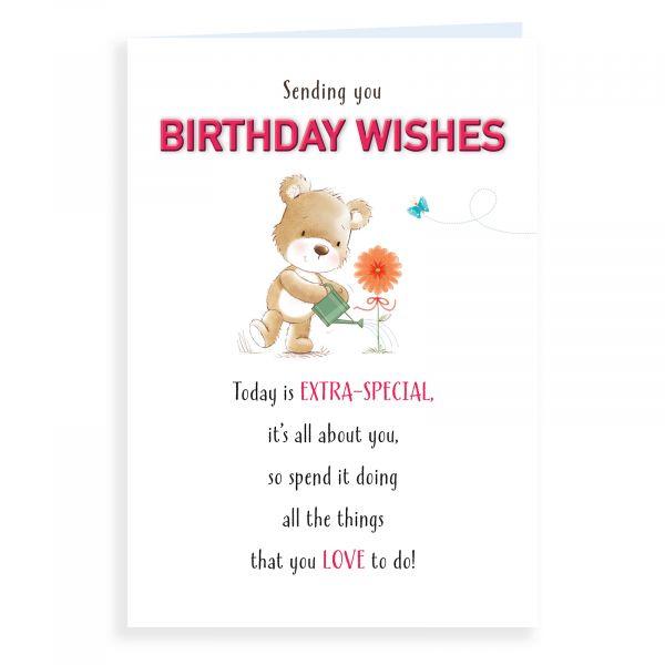 Birthday Card Open, Bear Watering Flower
