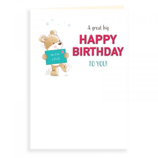 Birthday Card Open, Bear With A Card