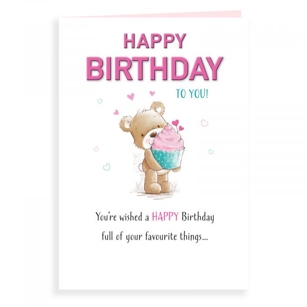 Birthday Card Open, Bear With A Cupcake