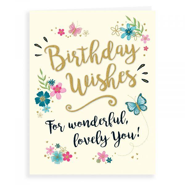 Birthday Card Open, Butterfly & Flowers
