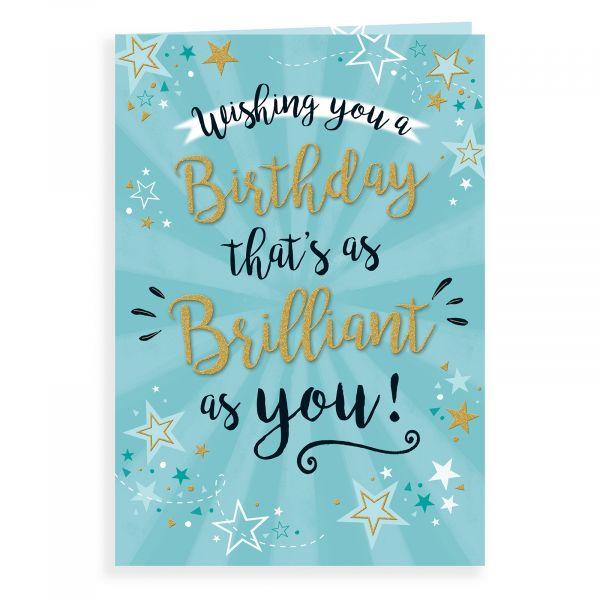 Birthday Card Open Male, Stars On Blue