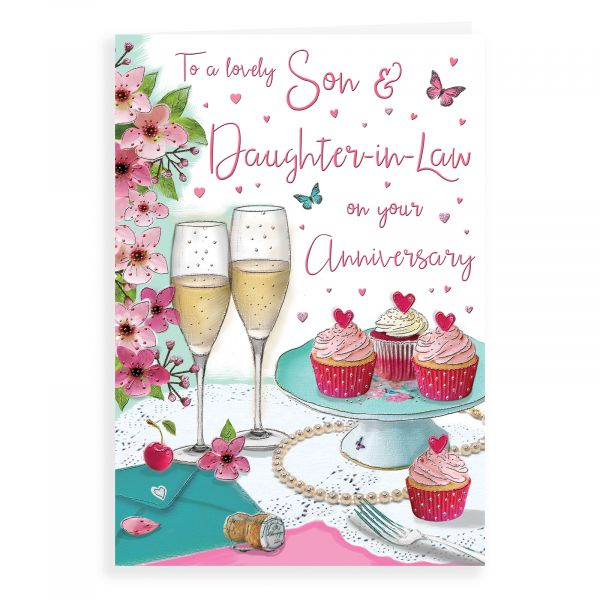 Anniversary Card Son & Daughter In Law, Champagne Glasses & Cupcakes