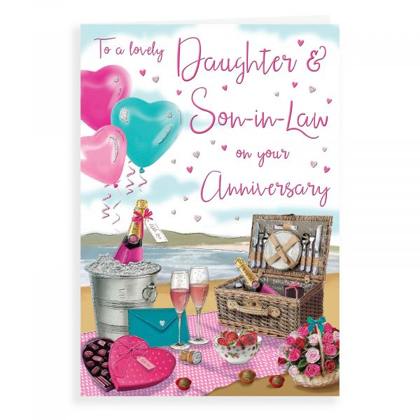 Anniversary Card Daughter & Son In Law, Champagne Picnic