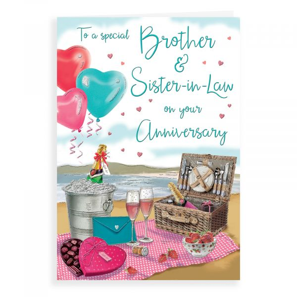 Anniversary Card Brother & Sister In Law, Champagne Picnic