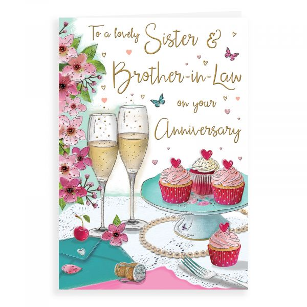 Anniversary Card Sister & Brother In Law, Champagne & Cupcakes