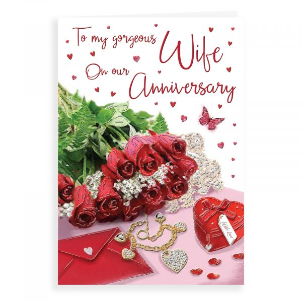 Anniversary Card Wife, Red Roses