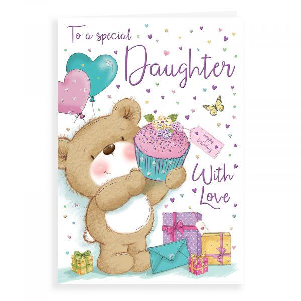 Birthday Card Daughter, Bear Holding Cupcake