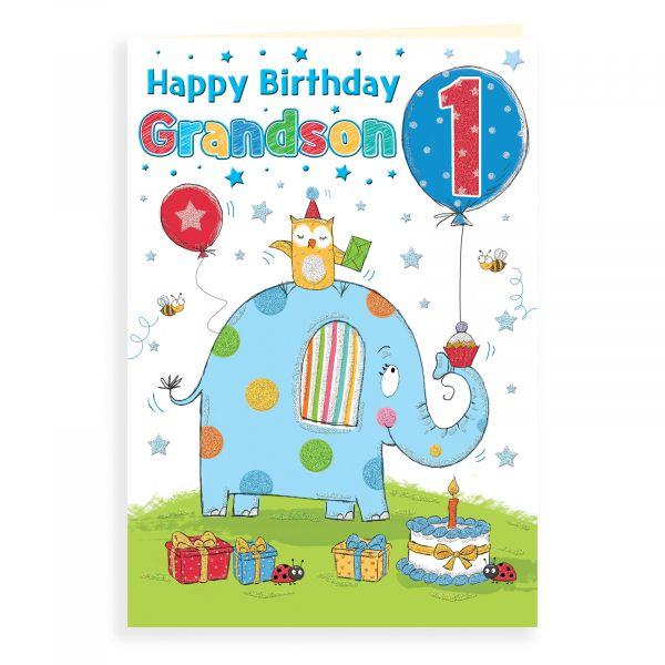 Birthday Card Age 1 Grandson, Elephant