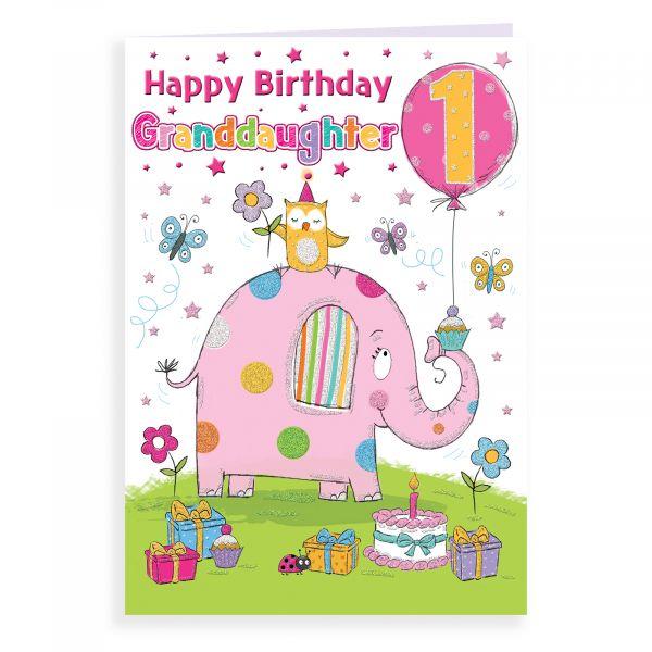 Birthday Card Age 1 Granddaughter, Elephant