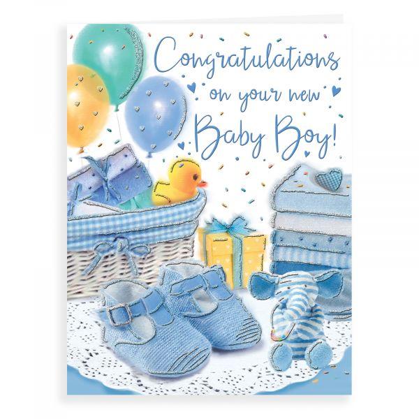 Baby Card Baby Boy, Booties & Teddy