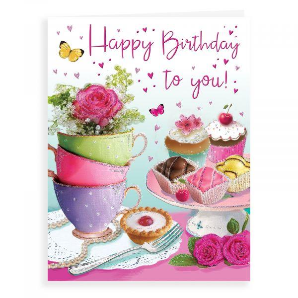 Birthday Card Open Female, Teacups & Cakes