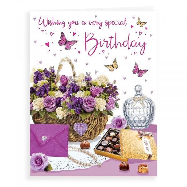 Birthday Card Open Female, Flower Basket