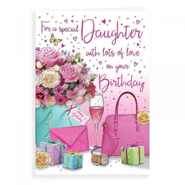 Birthday Card Daughter, Flowers, Handbag …
