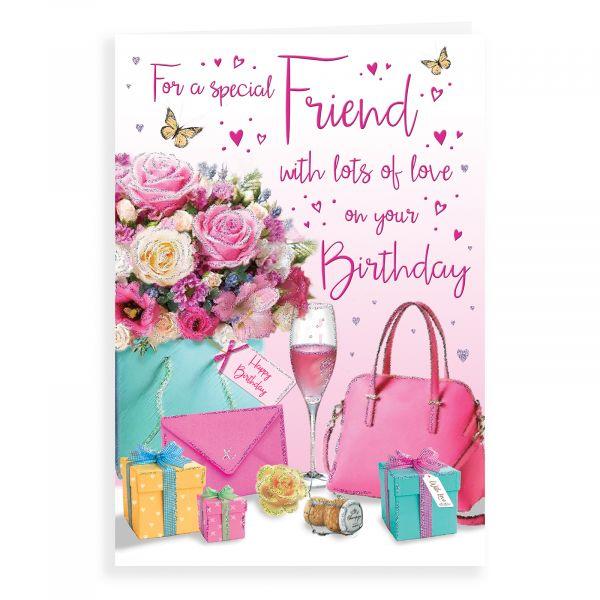 Birthday Card Friend, Flowers, Handbag …