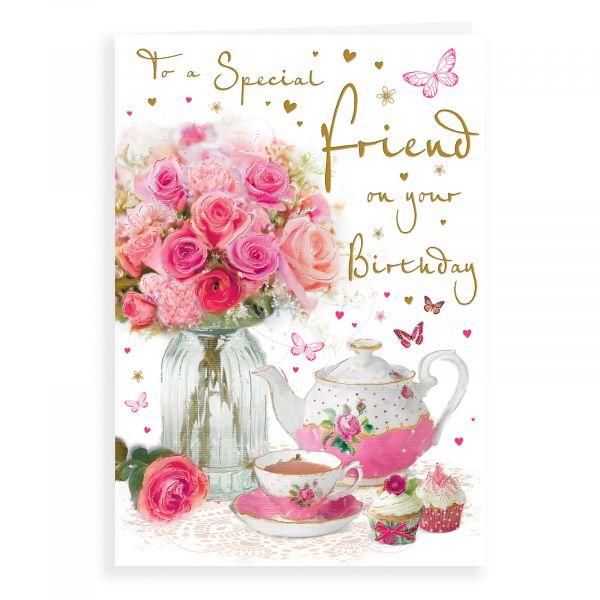 Birthday Card Friend, Roses And Tea