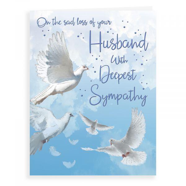 Sympathy Card Husband, Doves