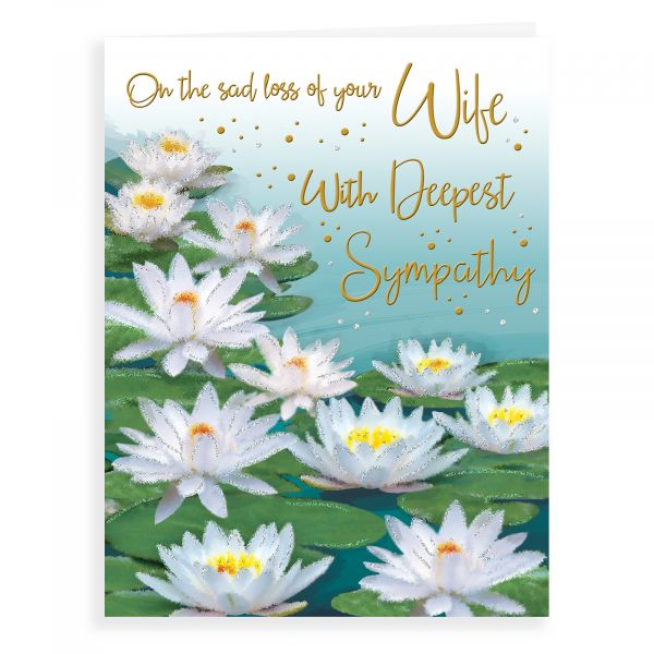 Sympathy Card Wife, Water Lilies