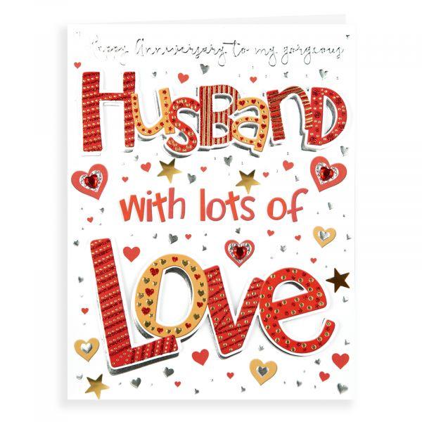Anniversary Card Husband, Hearts