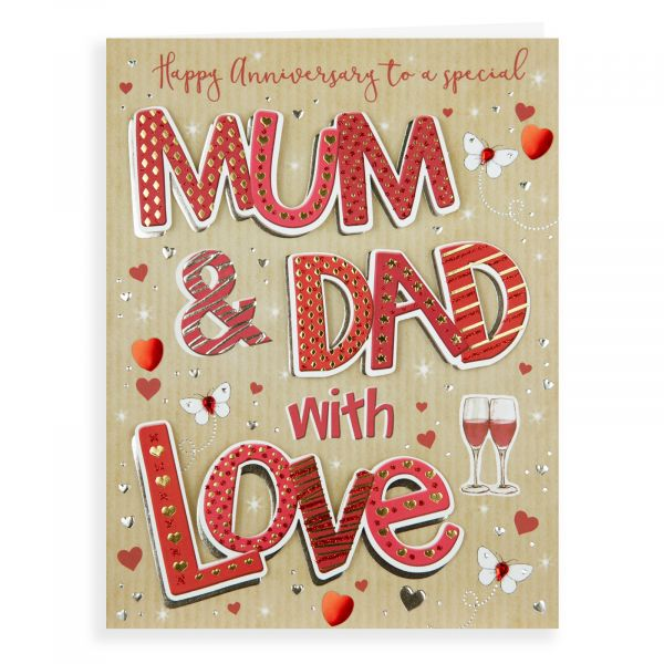 Anniversary Card Mum & Dad, Champagne Glasses