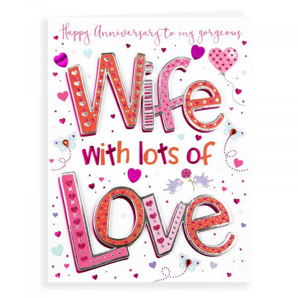Anniversary Card Wife, Hearts & Birds