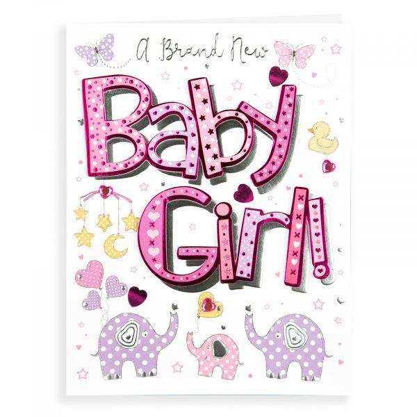 Baby Card Baby Girl, Elephants