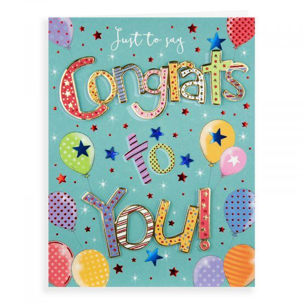 Congratulations Card, Balloons Pizzaz