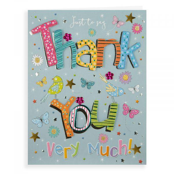 Thank You Card, Flowers & Birds