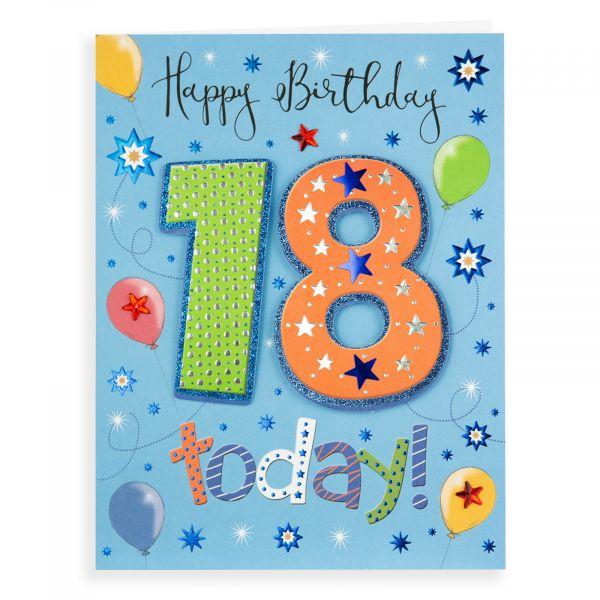Birthday Card Age 18 M, Balloons