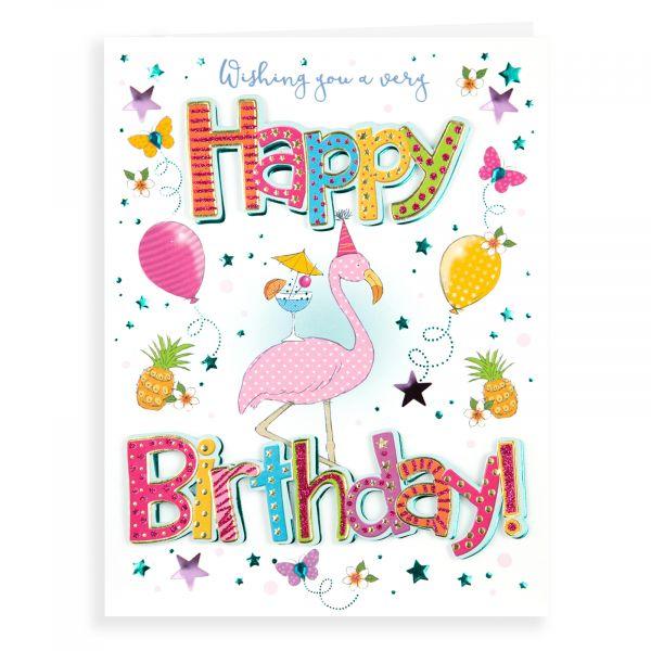 Birthday Card Open Female, Flamingo
