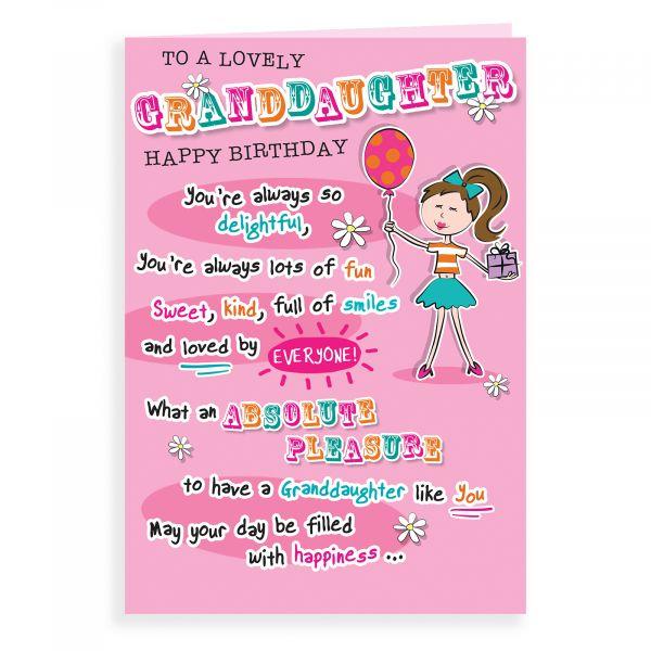 Birthday Card Granddaughter, Girl Balloon