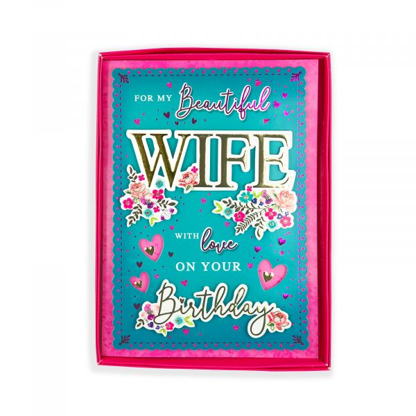 Birthday Boxed Card Wife, Floral