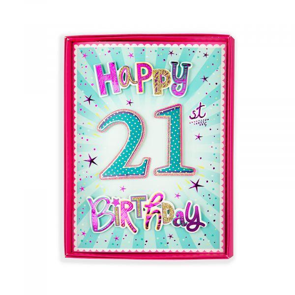 Birthday Boxed Card Age 21