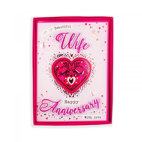 Birthday Boxed Card Anniversary Wife, Two Birds In Heart