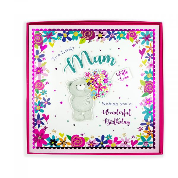 Birthday Boxed Card Mum, Bear With Flowers