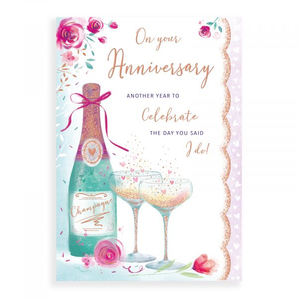 Anniversary Card Your, Champagne