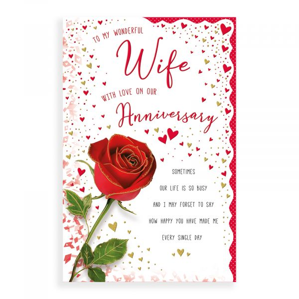 Anniversary Card Wife, Red Rose