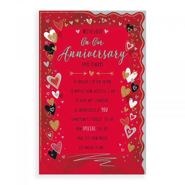 Anniversary Card Our, Hearts On Red