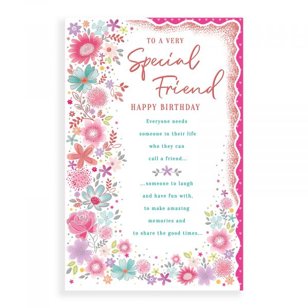 Birthday Card Friend, Floral Truly Yours